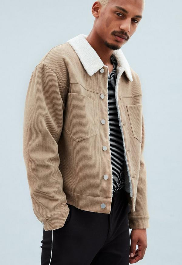 Brown Cord Borg Lined Trucker Jacket | Mennace