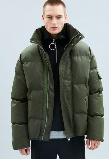 Khaki Puffer Jacket Mennace