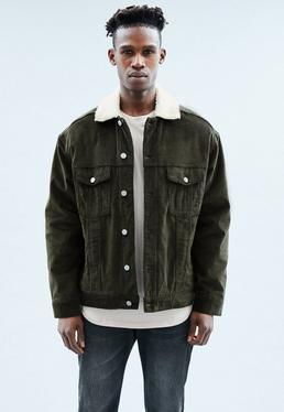 Green Cord Borg Lined Trucker Jacket