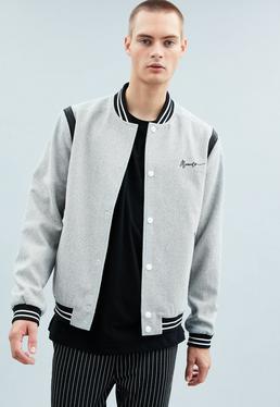 Grey Varsity Bomber Jacket