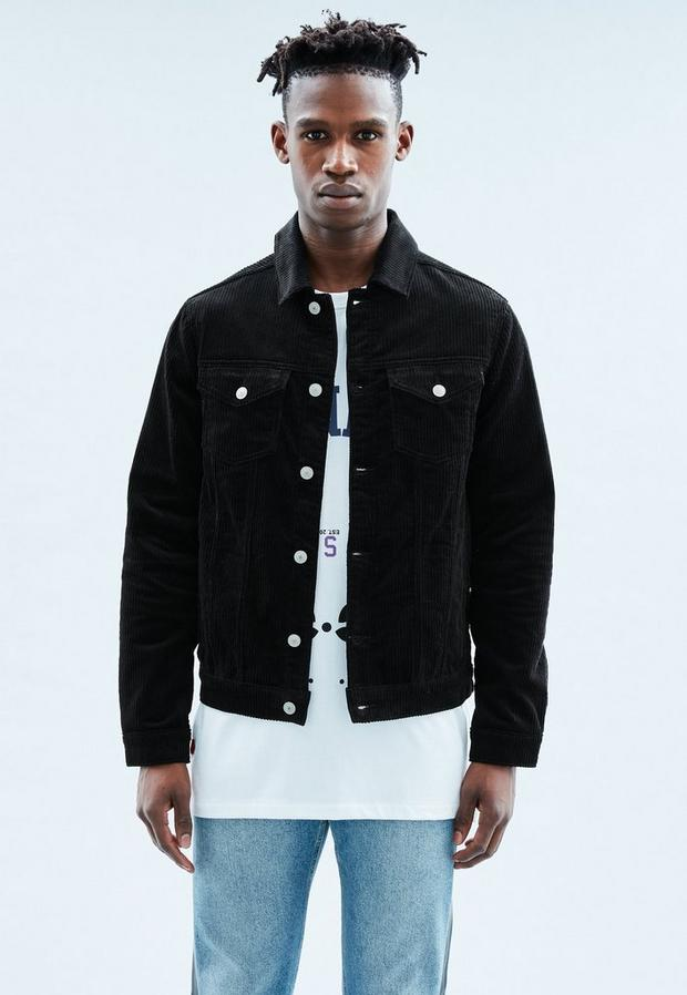 Black Cord Western Jacket, Men's, Size L, Black