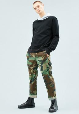 Green Camo Print Trousers