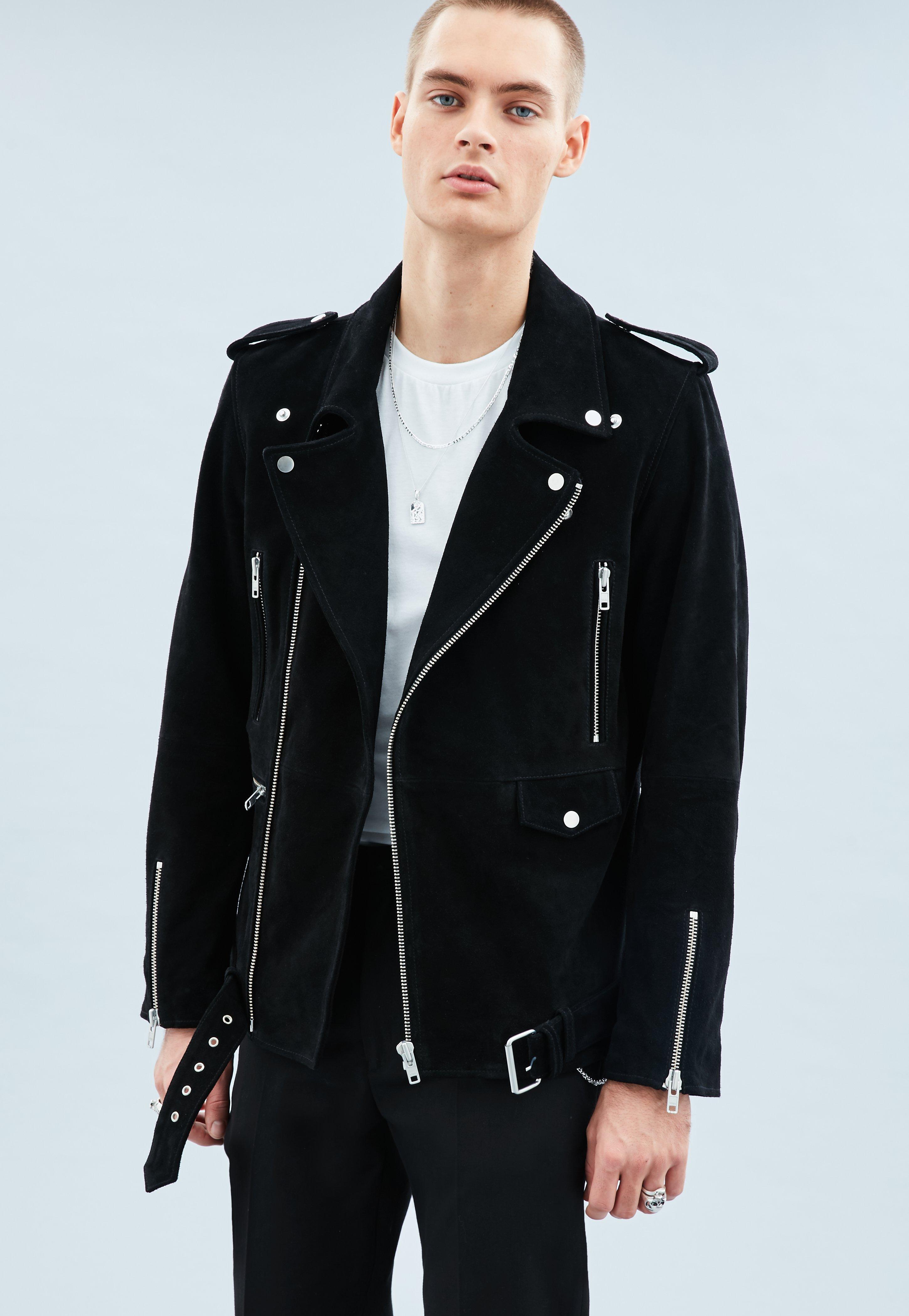 15b59cc8dd9 Black Suede Biker Jacket | Mennace