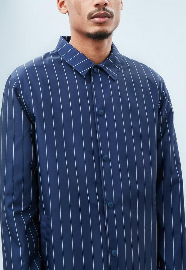 Navy Pinstripe Coach Jacket Mennace