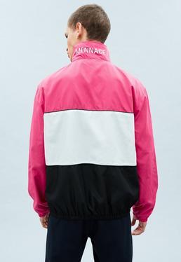 Pink Nylon Blocked Funnel Jacket