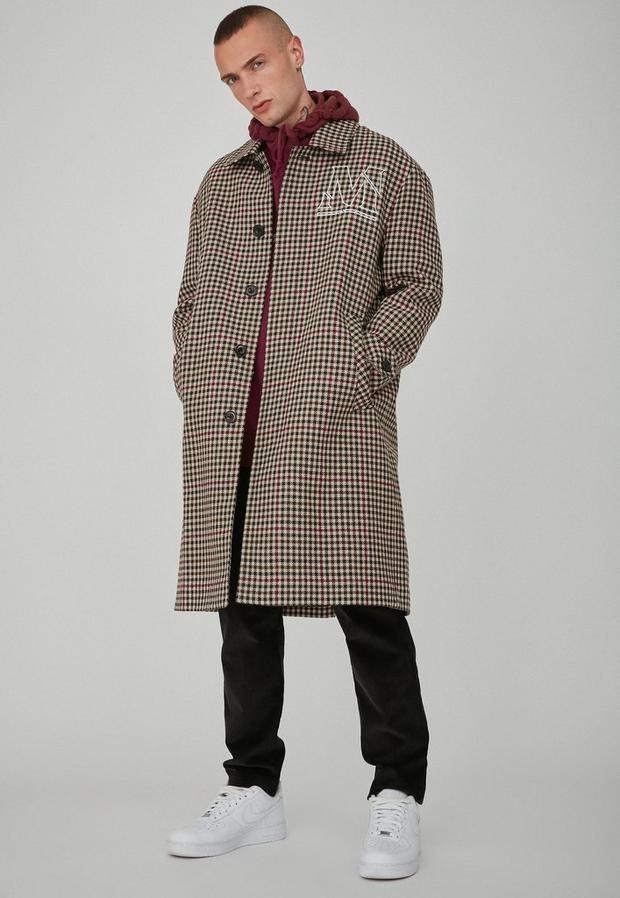 Beige Check Wool Mac, Men's, Size M, Beige