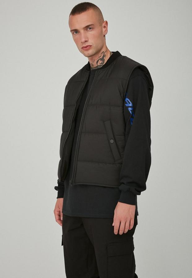 Black Quilted Gilet, Men's, Size S, Black