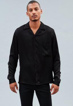 Black Shiny Satin Revere Shirt