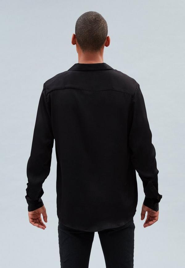 Black Shiny Velvet Revere Shirt | Mennace