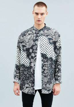 Black Bandana Print Relaxed Grandad Shirt
