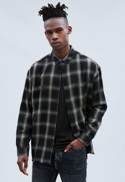 Black Brushed Checked Relaxed Shirt