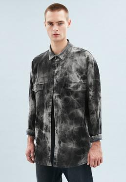 Black Tie Dye Oversized Denim Shirt