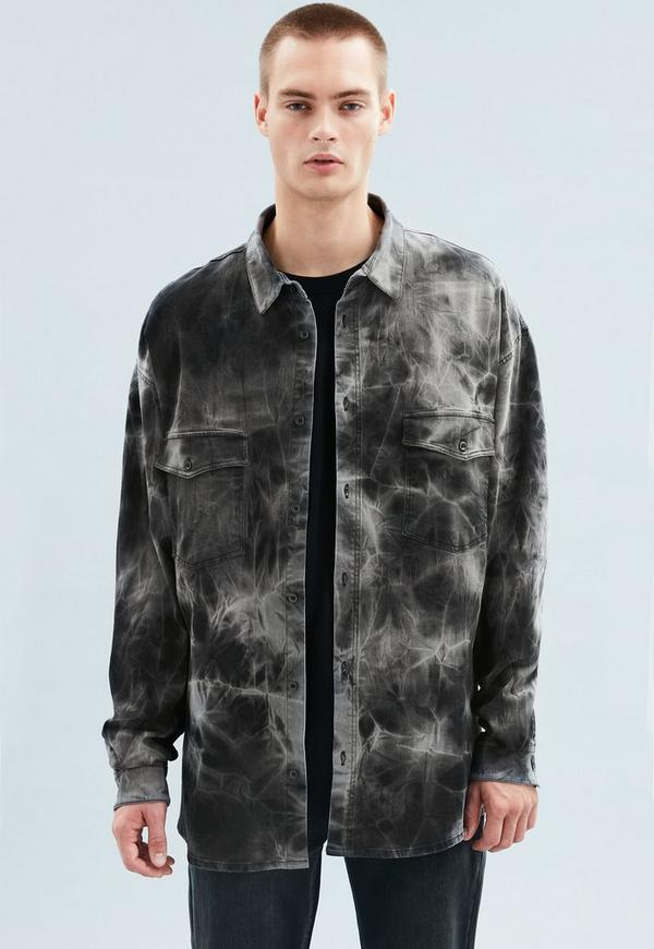 ea0b9ed22ab Black Tie Dye Oversized Denim Shirt