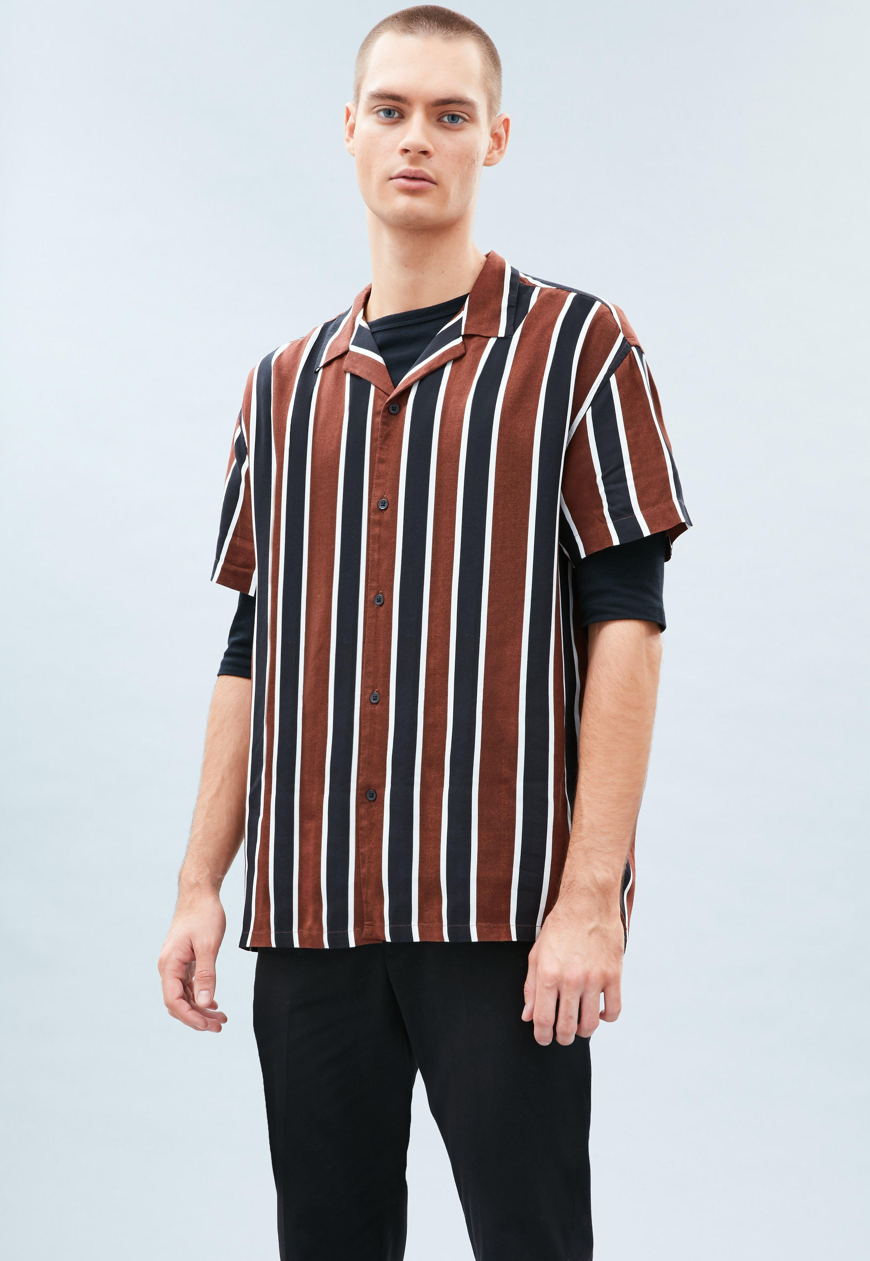 5cbf13d3c4fc49 Brown Striped Revere Shirt | Mennace
