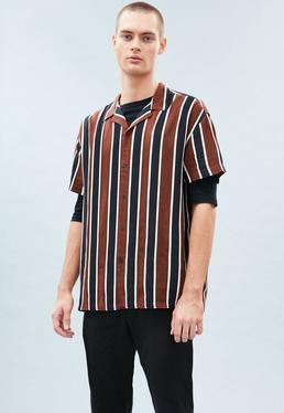 Brown Striped Revere Shirt