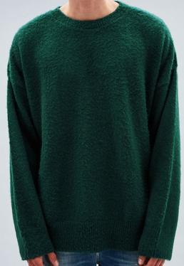 Green Laguna Long-Sleeved Crew Neck Jumper