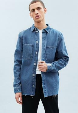 Blue Minimal Square Pocket Denim Shirt