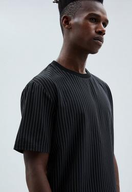 Black Pinstriped Woven T-shirt