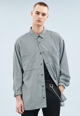 Grey Gingham Oversized Long Sleeved Shirt