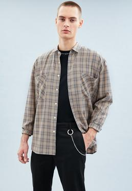 Brown Checked Long Sleeved Relaxed Shirt