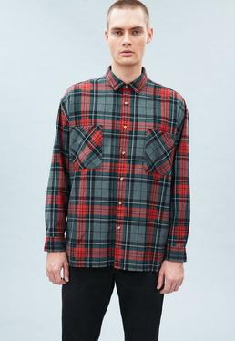 Red Checked Relaxed Regular Frayed Hem Shirt