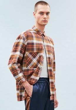 Brown Relaxed Regular Checked Shirt