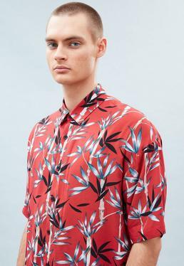 Red Boxy Bamboo Print Shirt