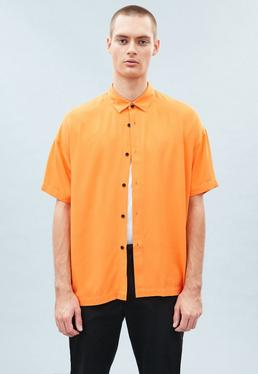 Orange Plain Boxy Shirt