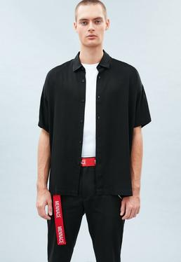Black Plain Boxy Shirt