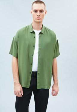 Green Plain Boxy Shirt