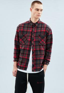 Red Double Pocket Checked Shirt