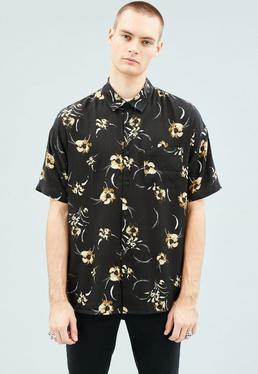 Black Floral Print Relaxed Short-Sleeved Shirt