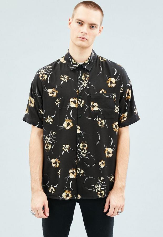 Black Floral Print Relaxed Short-Sleeved Shirt, Men's, Size L, Navy