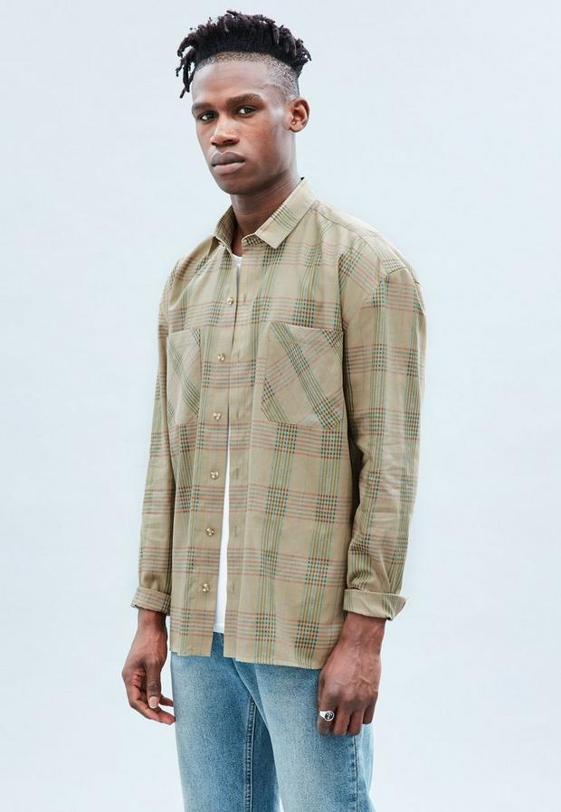 Beige Relaxed Checked Shirt, Men's, Size L, Beige