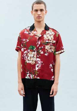 Red Short Sleeve Floral Blocked Hem Shirt
