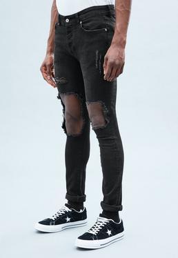 Black Super-Skinny Cordoza Distressed Jeans
