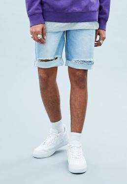 Blue Super Destroyed Ripped Shorts