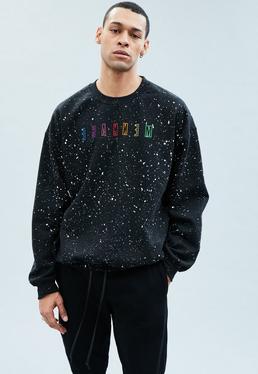 Mennace Black Embroidered Sweatshirt