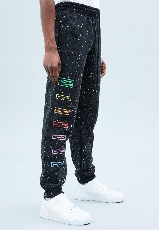 Black Colour Mennace Embroidered Joggers, Men's, Size L, Black