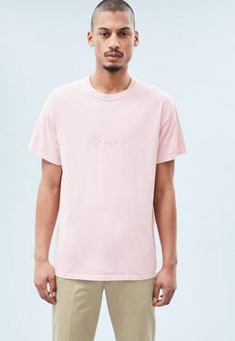 Pink Embroidered Signature T-shirt