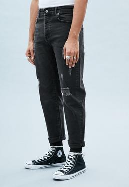 Black Washed Tapered Ripped Dara Jean